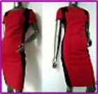DEBENHAMS BLACK & RED LINED FITTED WIGGLE PENCIL SHIFT WORK OFFICE TEA DRESS