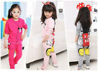 Baby Girls Kids Mickey Minnie T-shirt Tops Hoodies+Pants Two-pieces Sportwear