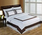 Wrinkle Free Egyptian Cotton Hotel White/Chocolate Duvet Cover Set