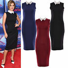 Women Ladies Contrast Collar Stretch Bodycon Knee Length Midi Party Dress Top