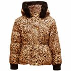 Minx Fur Hooded Leopard Print Winter Warm Girls Jacket kids coat Brown 2-7 Years