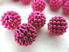 15mm OPAGUE METALLIC VIOLET RED ACRYLIC LUCITE BERRY LOOSE BEADS HP01857