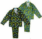 Boys Button Up Zombie Skull Skeleton Wincyette Pyjamas Set 7-13 yrs NEW