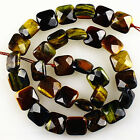 13x6mm Faceted tiger eye square loose beads 31pcs wholesale mix No.59727