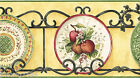 Victorian Apple Plates China Wrought Iron Ivy Scroll Green Wall paper Border