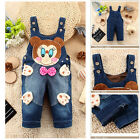 Mouse Printed Baby Kids Girls Dungarees Toddlers Jean Blue Denim Bow Overalls