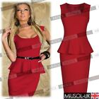 Womens Office Business OL Ladies Party Peplum Bodycon Slim Dresses Size 68101214