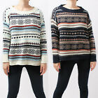 Women Ladis Krewneck Knitted Nordic Pullover Jumper Loose fit Sweater Knitwear