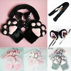 New Anime Cosplay Costume Cat Ears Plush Paw Claw Gloves Tail Bow-tie 1 Set