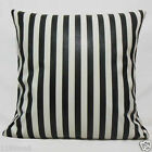 A Must Black n White Striped Faux Leather Cushion Cover Case Custom Made pu-1036