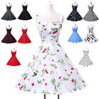 IN UK SALE Lady Retro Halter Polka Swing 50s Evening Prom pinup Rockabilly Dress
