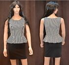 New Womens Winter xmas Sexy Formal Casual Work Stripped Peplum Bodycon Dress