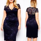 Women Slim Bodycon Short-Sleeve Big Size Party Evening Lace Dress New