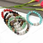 Fashion Ball Round Natural Gemstone Crystal Spacer Beads Agate Bangle Bracelet