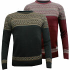 Mens New Threadbare Knitted Jumper Warm Aztec Winter Sweater Red & Grey Pullover