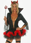 Halloween Sexy Womens Little Black Red Devil Tube Fancy Dress Costume Outfit
