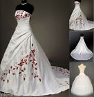 New Satin Embroidery Wedding Dresses Bride Gown Stock Size:6 8 10 12 14 16