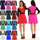 Womens Ladies 3/4 Sleeves Contrast Panel Flared Franki Skater Dress Plus Size