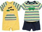 GYMBOREE Boys Car 3-6 6-12 12-18 Month Yellow Shortie or Shorts Shirt Outfit NWT