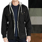 Dickies Jackets Mens Canvas Overshirt Quilted Lining Fleece Hooded Cotton Jacket