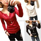 Womens Fitted Long Sleeve Plain V Neck T-shirt Tops Casual Blouse Basic Tee EA