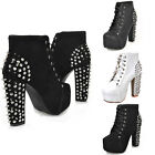 Womens Spike Stud Goth Rock Lace Up High Block High-TOP Platform Boots