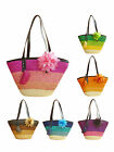 New Women Ladies Flower Stripe Woven Straw Shoulder Bag Straw Beach Tote Handbag