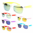 Unisex Reflective Color Mirror Lens 80s Skater Horn Rim Clear Frame Sunglasses