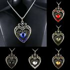 Retro Swarovski Crystal Heart Pendants Necklaces Sweater Chain Rhinestone Gifts