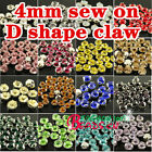 100pcs 4mm  faceted loose crystal glass sew on claws rhinestones beads pk color