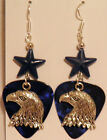 NEW! Handmade in USA Guitar Pick Earrings with Beads - Silver EAGLE Charm