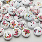 E645 Santa Christmas Wood Buttons 15mm Sewing Craft Mix Lots 10/50/100/500pcs