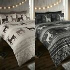Winter Stag Fair Isle 100% Brushed Cotton Flannelette Thermal Bedding Set