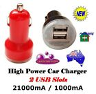 Car Cigarette Lighter Charger 2 USB Slots 2100mA 1000mA Adapters For iPad Tablet