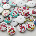 E639 10/50/100/500pcs Santa Christmas Claus Wood Buttons 20mm Sewing Mix Lots