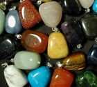 "Tumbled Gemstone Pendants Bulk Mix! Up to 50pc Lots! 3/4 to 7/8"" Size"