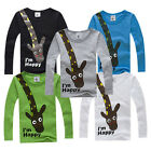 Long Sleeve Giraffe I'm Happy Kids Boys T-shirt Top Long Sleeve Clothing 2-7Y UK