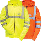 Caterpillar Sweatshirt Men CAT Zipper Hooded Fleece Hi-Vis Lined Jacket Class 3