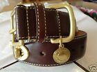 NEW COACH RARE CHOCOLATE BROWN LEATHER BRASS TURNLOCK XS S M DOG COLLAR