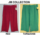 NEW-JM COLLECTION WOMENS PLUS SIZE CRINKLED COTTON CROPPED PANTS-$40