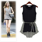 Chic women  Striped Asym Hem Loose shirt Casual Sleeveless Blouse Brown black #S