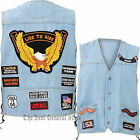 Washed Light Blue Denim Motorcycle Vest with 14 Biker Patches Lace-Up Sides Mens