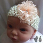 BABY STRETCH HEADBAND,CREAM, PEACH LACE FLOWER, Maggie 7 Design