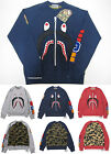 A BATHING APE Mens SHARK CREWNECK Gray Navy  Red 3 Colors From Japan New