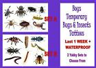 BUGS & INSECTS TATTOOS 8 waterproof LAST1WEEK+ boy tattoo loot bag party sticker