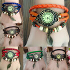 Fashion Women Pretty Leather Bracelet Leaf Decoration Quartz Wrist Watch Gift