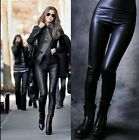 Sexy Mid-waisted  Womens Faux Leather Stretch Skinny Pants Leggings Black