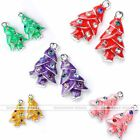 5x Enamel Silver Plate Christmas Tree Charm Crystal Pendant Bead Jewelry Finding