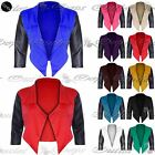 Womens Ladies PVC 3/4 Sleeve Waterfall Open Front Crop Coat Blazer Top Plus Size