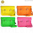 "14"" NEON BRITISH REAL LEATHER SATCHEL BAG - Women's Men's Fluoro Vintage Handbag"